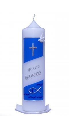 Taufkerze Kreuz und Fisch blau mit Karton
