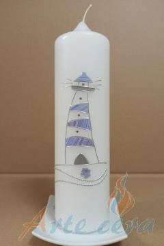 Taufkerze Leuchtturm Modern (blau)