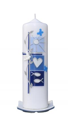 Christening candle Summer (blue) with box
