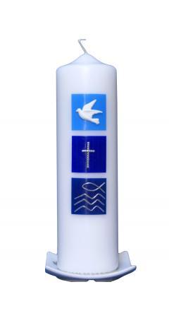 Taufkerze Taube, Kreuz, Fisch blau mit Karton