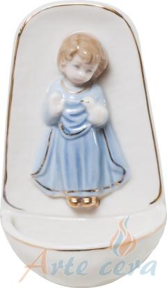 Porzellan-Weihkessel Engel mit Taube (blau)