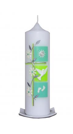 Taufkerze Kreuz mit 3 Quadraten und Blumenranke Pastellgrün-maigr