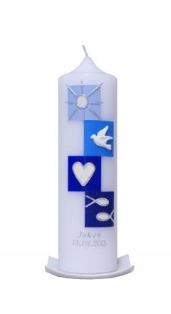 Taufkerze vier Quadrate Modern blau mit Karton