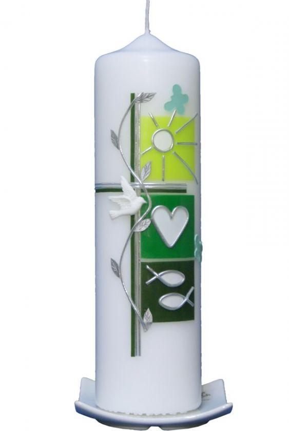 Kerzenständer Holz Taufkerze ~   Taufkerzen Taufkerzen 25 x 7cm Taufkerze Sommer (grün) mit Karton