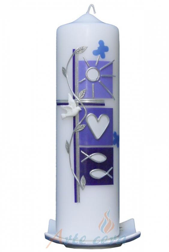 Kerzenständer Taufkerze Holz ~   Taufkerzen Taufkerzen 25 x 7cm Taufkerze Sommer (flieder) mit Karton
