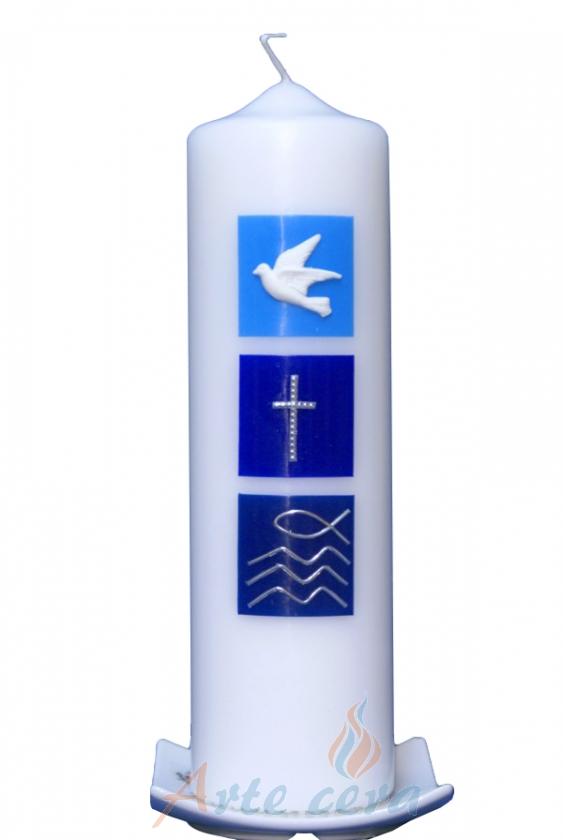 Kerzenständer Holz Taufkerze ~   Taufkerzen 25 x 7cm Taufkerze Taube, Kreuz, Fisch (blau) mit Karton