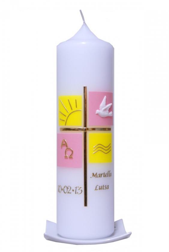 Kerzenständer Holz Taufkerze ~   Taufkerzen 25 x 7cm Taufkerze Kreuz mit gelb rosa Quadraten mit Karton