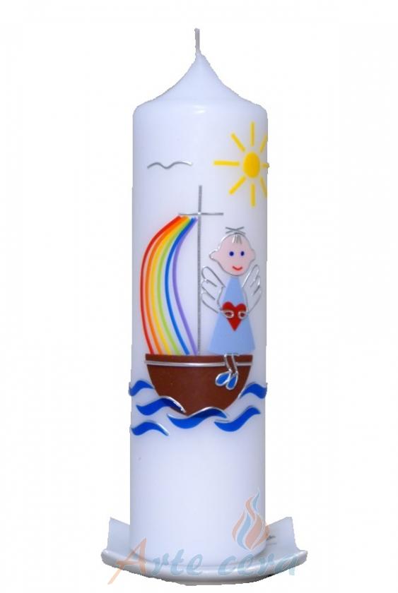 Kerzenständer Holz Taufkerze ~   Taufkerzen 25 x 7cm Taufkerze Engelchen mit Boot blau mit Karton