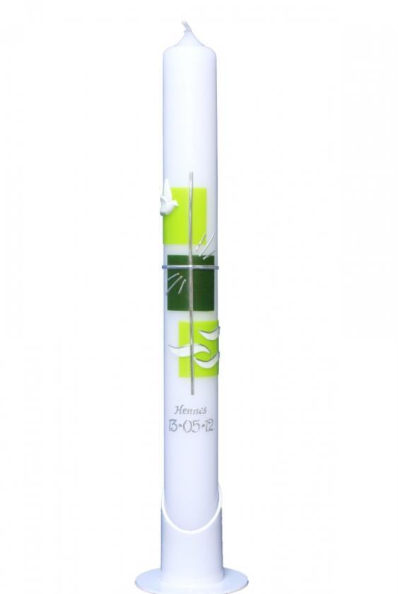 Kerzenständer Holz Taufkerze ~ Taufkerzen  Taube, Kreuz, Wasser Modern (grün) 40×4