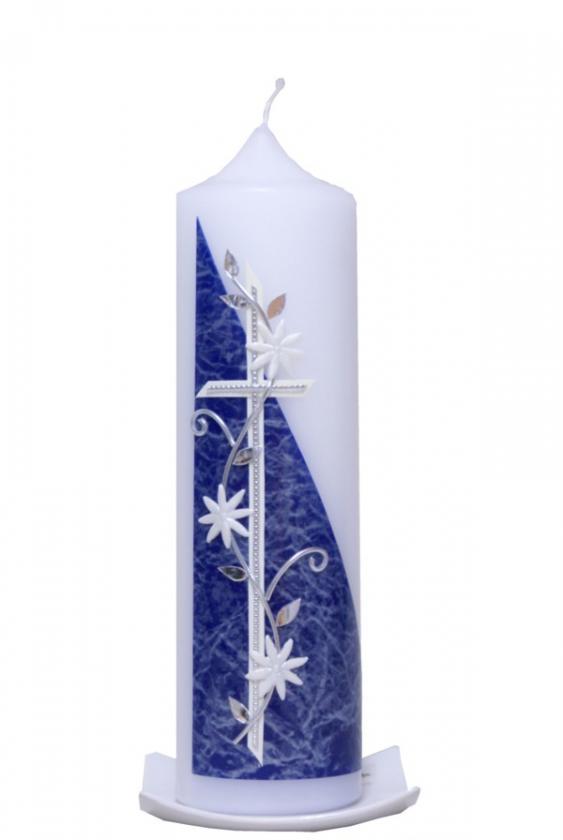 Kerzenständer Holz Taufkerze ~   Taufkerzen Taufkerzen 25 x 7cm Taufkerze Clematis blau mit Karton
