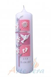 Taufkerze Kreuz mit 3 Quadraten und Blumenranke rosa-altrosa