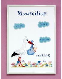 Geburtsbild Storch für Jungen. Geburtsdruck personalisiert mit Rahmen A4. Fotorahmen in weiß. Geburtsbild Mädchen/Geburtsbild Jungen
