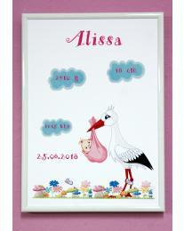 Geburtsbild Storch für Mädchen. Geburtsdruck personalisiert mit Rahmen A4. Fotorahmen in weiß. Geburtsbild Mädchen/Geburtsbild Jungen