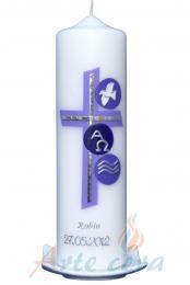 Taufkerze Kreuz und Kreise flieder mit Karton