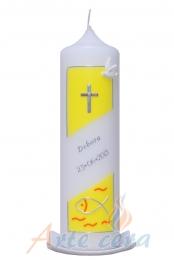 Taufkerze Kreuz und Fisch gelb mit Karton