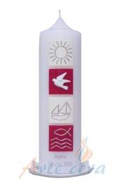 Taufkerze Vier Quadrate Boot elfenbein-Violett 25x7cm