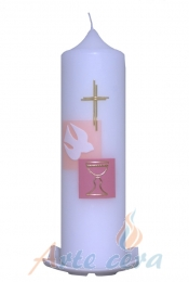 Taufkerze Kreuz und Taube rosa mit Karton