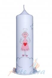 Taufkerze Engelchen rosa mit Karton