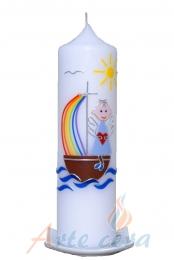 Taufkerze Engelchen mit Boot hellblau mit Karton