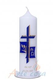 Taufkerze Kreuz mit Ähren blau mit Karton
