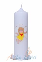 Taufkerze Engel sonnengelb mit Karton