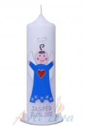 Taufkerze Engel für Jungs lichtblau mit Karton