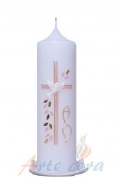 Taufkerze Quelle rosa mit Karton