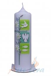 Taufkerze 3 Quadrate mit Engel (Pastellgrün)