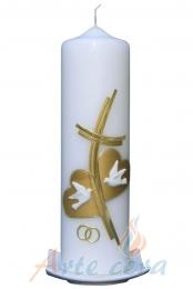 Hochzeitskerze Kreuz mit zwei Herzen (gold)
