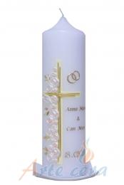 Hochzeitskerze Kreuz mit Rosen (creme) mit Karton