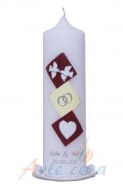 Hochzeitskerze Rauten (Weinrot/creme) mit Karton