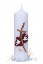 Hochzeitskerze Kreuz mit zwei Herzen mit Karton (gold/weinrot)