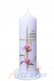 Hochzeitskerze Goldenes Kreuz mit Blumen
