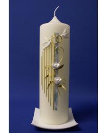 Hochzeitskerze Harfe mit Rose mit Karton