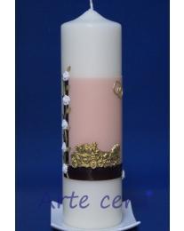 Hochzeitskerze Kutsche (rosa) mit Karton