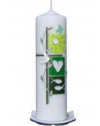 Taufkerze Sommer grün mit Karton