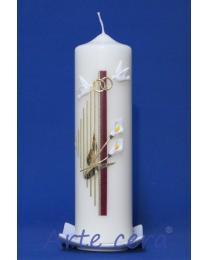 Hochzeitskerze Harfe mit Callas, (Weinrot) mit karton