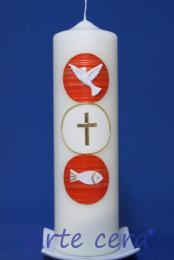 Taufkerze Kreise rot mit Karton
