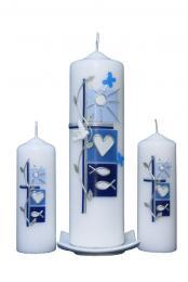 Taufkerze Set Sommer (blau) (1+2)