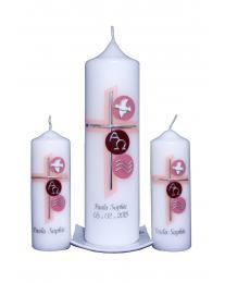 Taufkerze Set Kreuz und Kreise rosa (1+2) mit Karton