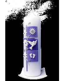 Taufkerze Kreuz mit 3 Quadraten und Blumenranke (zartflieder-flieder)