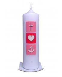 Taufkerze Glaube-Liebe-Hoffnung (rosa-pink)