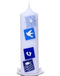 Taufkerze Vier Quadrate Chaos blau mit Karton